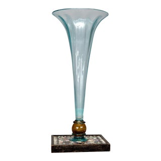1930s Pale Blue Hand Blown Glass Vase with Mosaic Base