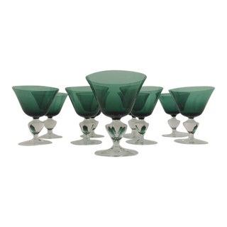 Emerald & Clear Bar Glasses - Set of 9