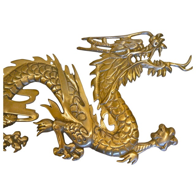 Large Brass Wall Hanging Dragons - A Pair - Image 7 of 7