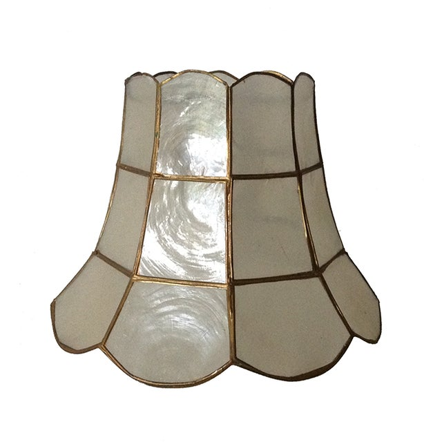 1960's Capiz Shell Scalloped Clip-On Shade - Image 1 of 7