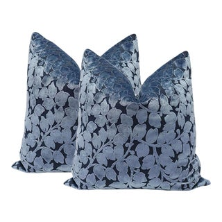 Prussian Blue Leaf Cut Velvet Pillows - A Pair