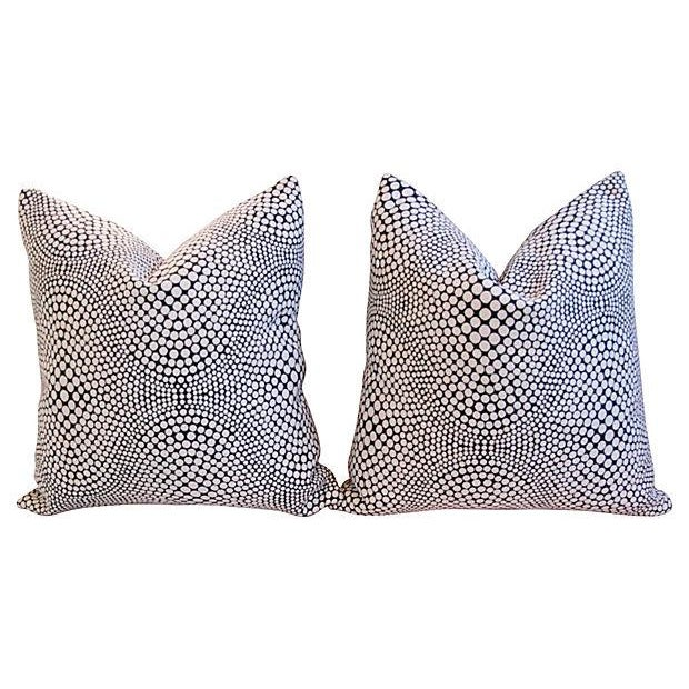 Modern Geometric Abstract Dot Pillows - A Pair - Image 6 of 7