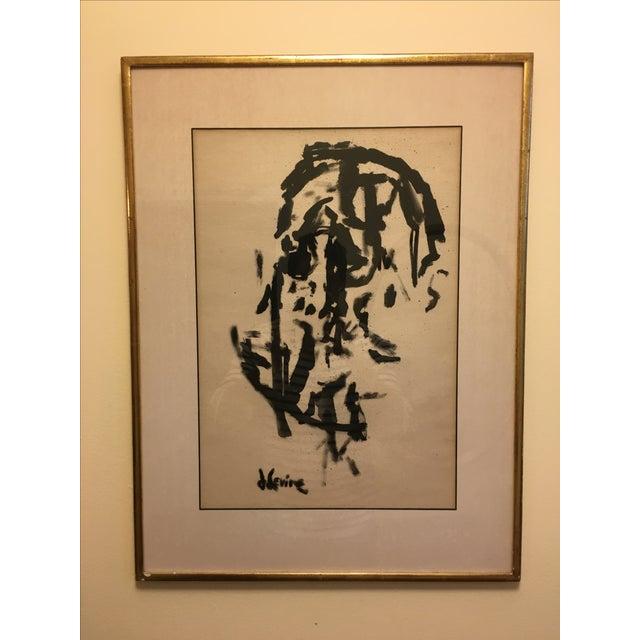 Jack Levine Cubist Ink Painting - Image 2 of 5