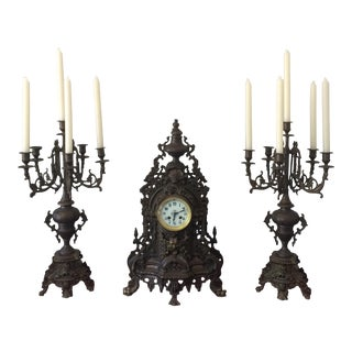 French Candelabras & Mantle Clock Garniture- 3 Pieces
