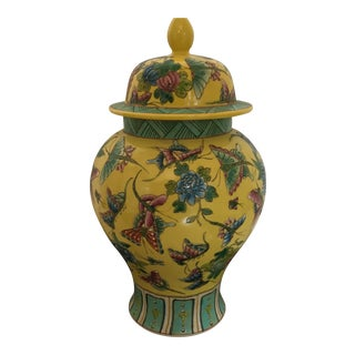 Chinese Chinoiserie Colorful Hand Painted Ginger Jar