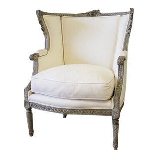 19th Century Antique French Louis XVI Style Wing Chair