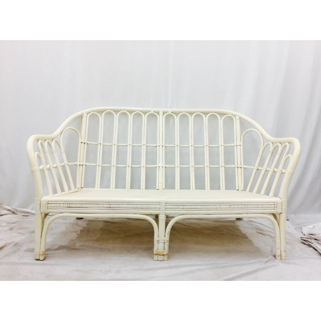 Vintage Rattan Love Seat Sofa - Image 2 of 9