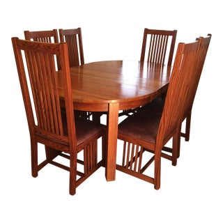 Restoration Hardware Mission-Style Oak Dining Set - Set of 7
