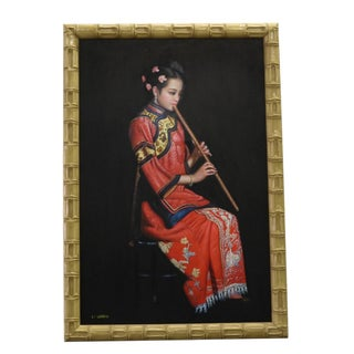 Chinese Oil Painting on Canvas Female Musician