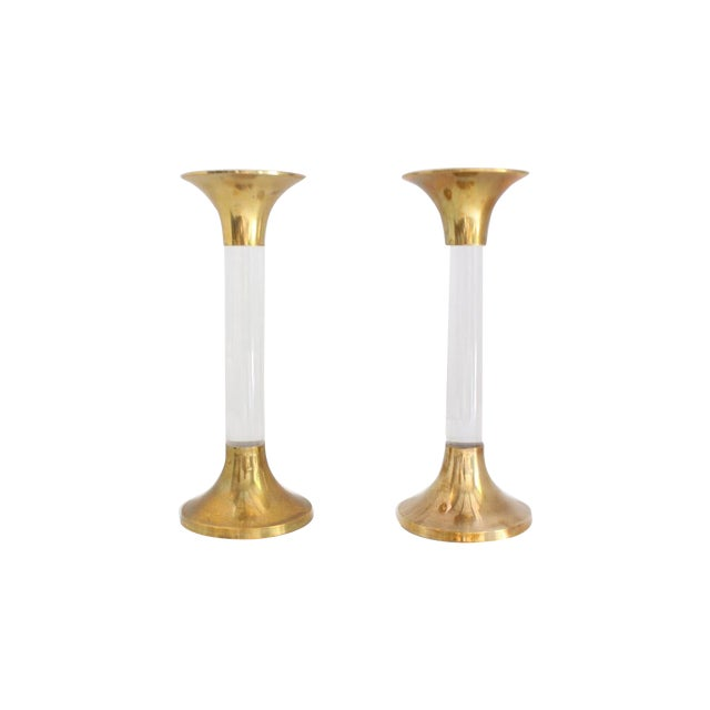 Image of Brass and Lucite Candlesticks - A Pair