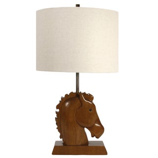 Wooden Horse Head Table Lamp
