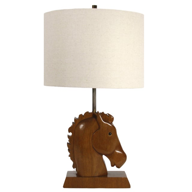 Wooden horse head table lamp chairish