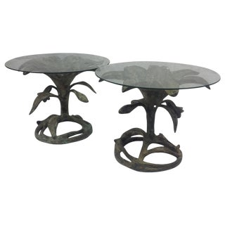 Bronze Lily Tables -- A Pair