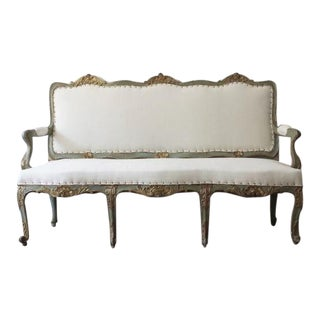 18th C Italian Louis XV Painted and Gilt Settee