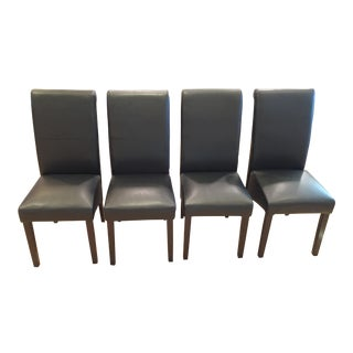 Modern Black Leather Dining Chairs - Set of Four