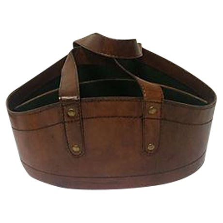 Rustic Leather Wine Tote - Image 1 of 4