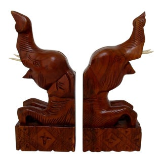 Carved Wood Elephant Bookends - A Pair