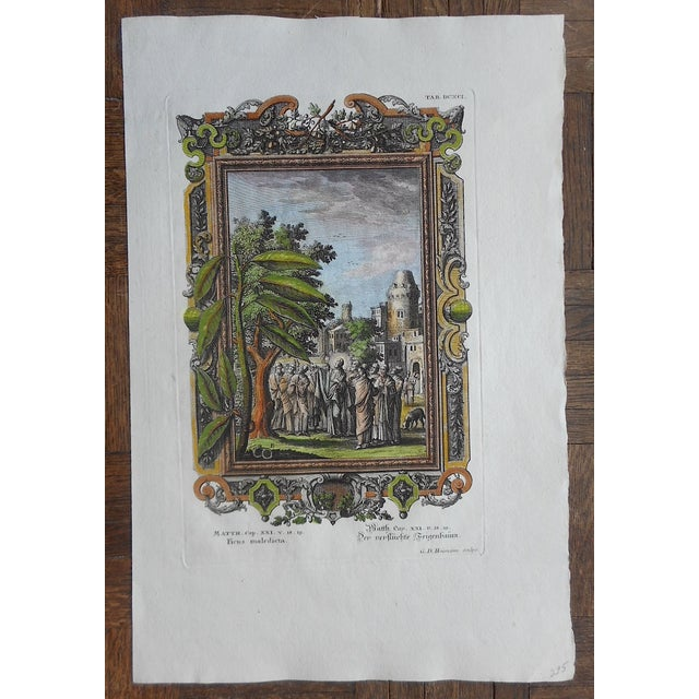 Image of Antique Christ & The Fig Tree Folio Size Engraving
