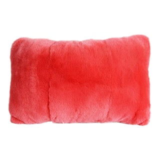 Salmon Pink Fur Pillow