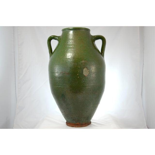 Turkish Oversize Dark Green Glazed Urn - Image 5 of 9