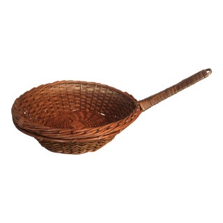 Antique French Woven Wicker Basket Pot Pan W/ Handle