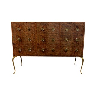 Mastercraft Credenza With Brass Pulls & Legs