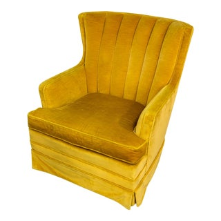 Vintage Retro Golden Yellow Velvet Wingback Chair