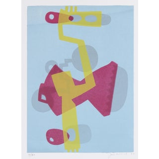 Abstracted Robot in Blue, Yellow, and Pink, Serigraph on Paper, 1972