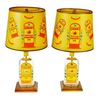 Vintage Gordon's London Dry Gin Bottle Table Lamps - a Pair