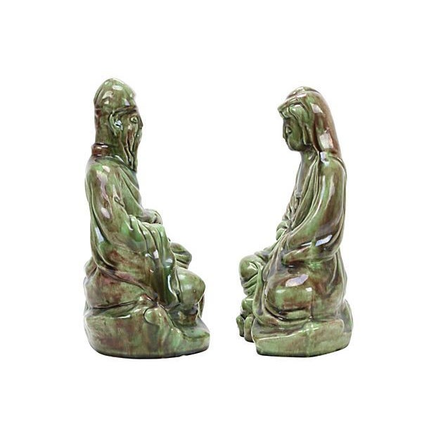 Mid-Century Ceramic Asian Couple - A Pair - Image 2 of 4