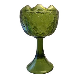 Vintage Green Indiana Glass Compote