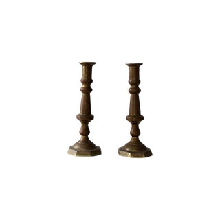 Antique Brass Candlestick Holders