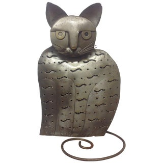 Industrial Pierced Steel Figural Cat Lantern