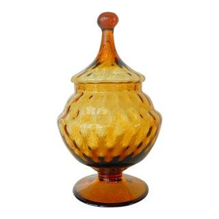 Vintage Empoli Style Amber Glass Pedestal Apothecary Jar