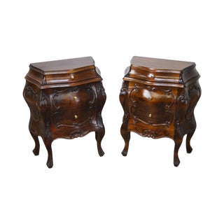 Vintage Italian Walnut Small Bombe Commode Chests - A Pair