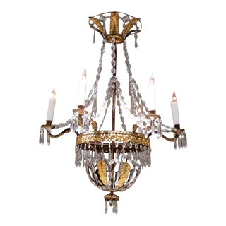 Late 18th Century Italian Empire Crystal, Tole and Brass Feather Chandelier