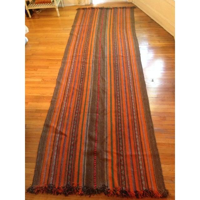 """Yemeni Tribal Wool Flat Weave Rug - 3'5"""" x 10'1"""" - Image 4 of 4"""