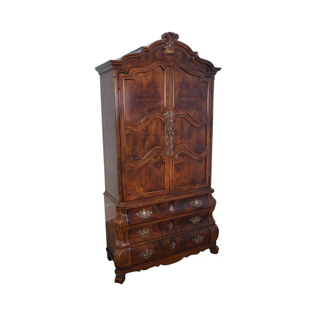henredon villandry french louis xv style bombe armoire chairish. Black Bedroom Furniture Sets. Home Design Ideas