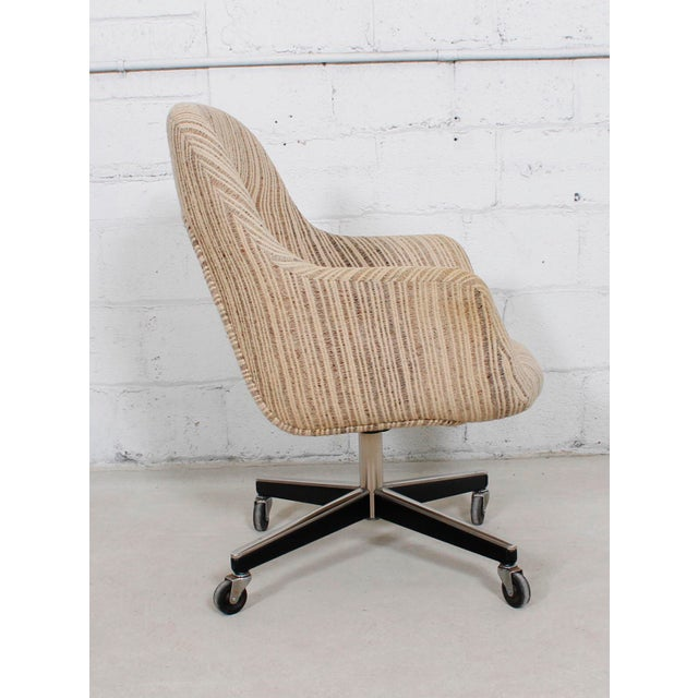Knoll upholstered office chairs on casters a pair chairish for Upholstered desk chairs with wheels