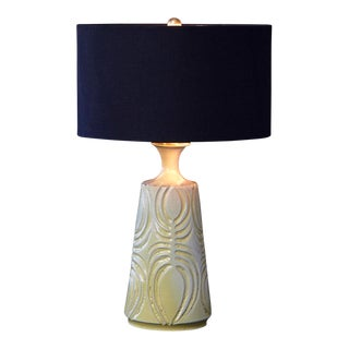 Yellow Ceramic Lamp with Decorative Lines by Robert Maxwell