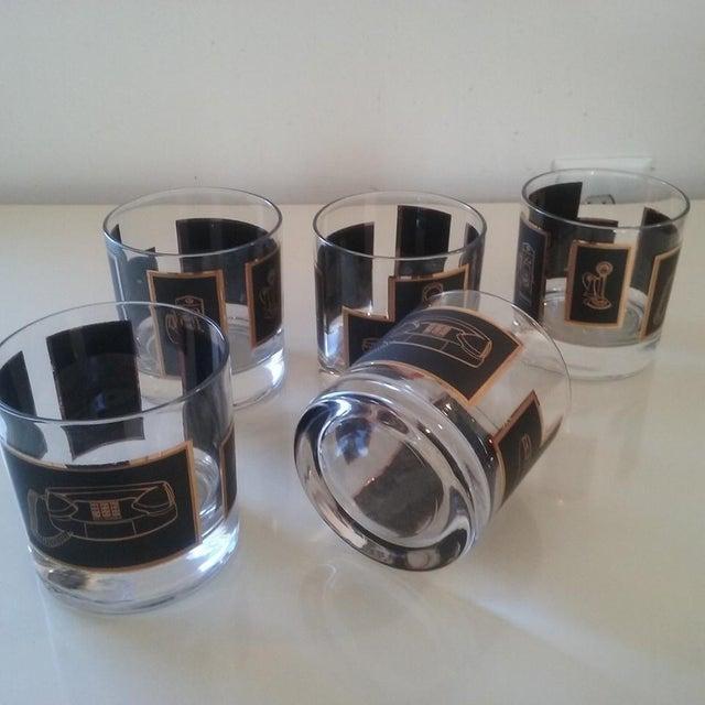 Black & Gold Phone Rocks Glasses - Set of 5 - Image 4 of 6