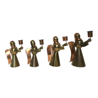 Vintage Brass and Copper Angel Candle Holders (Set of 4)