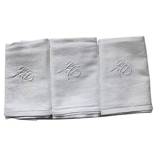 "Antique French ""HD"" Linen Napkins - Set of 12"