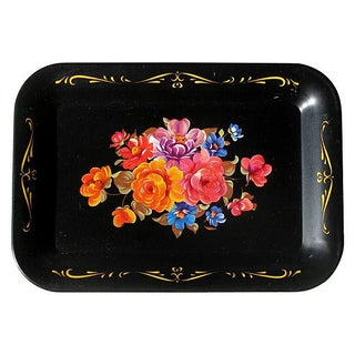 Mid-Century Black Tole Hors d'Oeuvres Trays- S/13