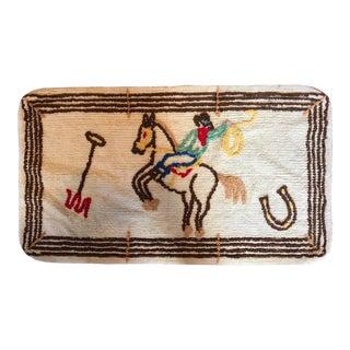 Vintage Children's Chenille Cowboy Rug - 2′ × 3′5″