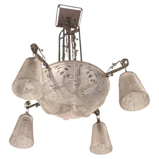Muller Freres Signed French Art Deco Chandelier