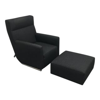 Leolux Modern Recliner Chair & Ottoman - A Pair