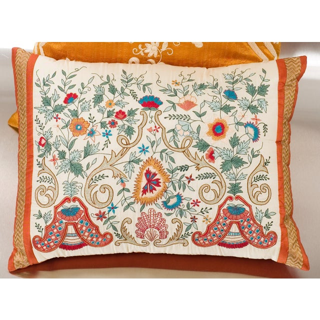 Luxury Silk Embroidered Decorative Pillow - Image 2 of 8