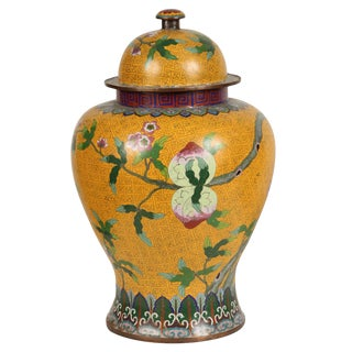 A Yellow Cloisonné Temple Jar with Peaches