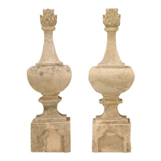 Pair of Original c.1820 Antique French Hand-Cut Stone Flaming Finials